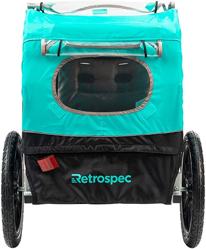 "Retrospec Rover Kids Bicycle Trailer Single and Double Passenger Children's Foldable Tow Behind Bike Trailer with 16"" Wheels, CPSC Approved Safety reflectors, and Rear Storage Compartment"