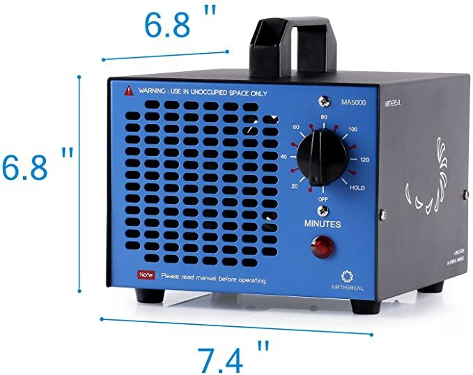 Airthereal MA5000 Commercial Generator 5000mg/h Ozone Machine Home Air Ionizers Deodorizer for Rooms, Smoke, Cars and Pets, Blue