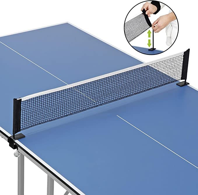 F2C 6'x3' Foldable Ping Pong Table with Net Instant Set-up Table Tennis Table, Compact Midsize Regulation Height
