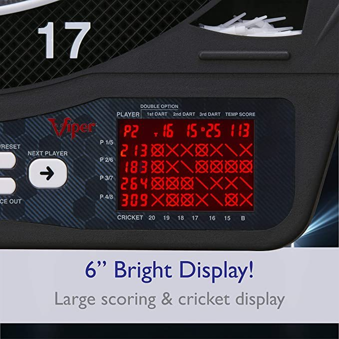 Viper Ion Electronic Dartboard, Illuminated Segments, Light Based Games, Green And Blue Segment Colors, Ultra Thin Spider to Increased Scoring Area, Target Tested Tough Segment For Enhanced Durability