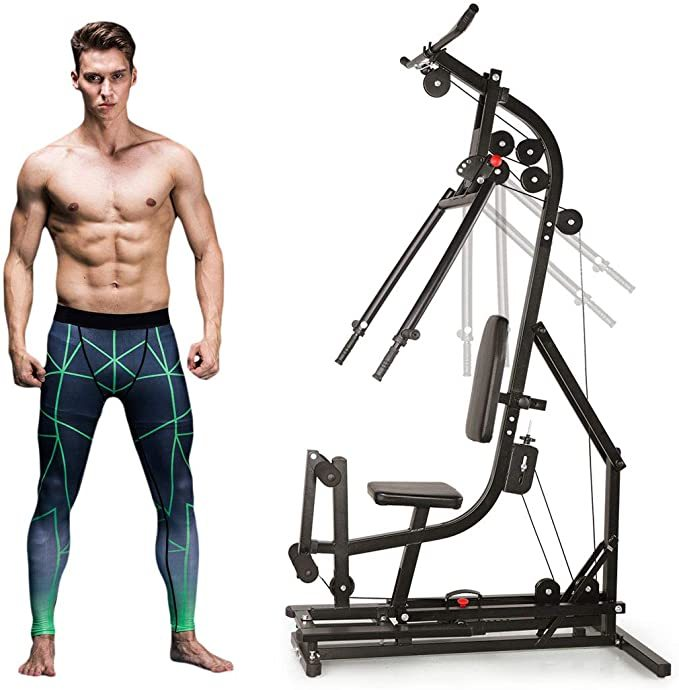 JAXPETY Black Home Gym Station Workout Machine for Total Body Training