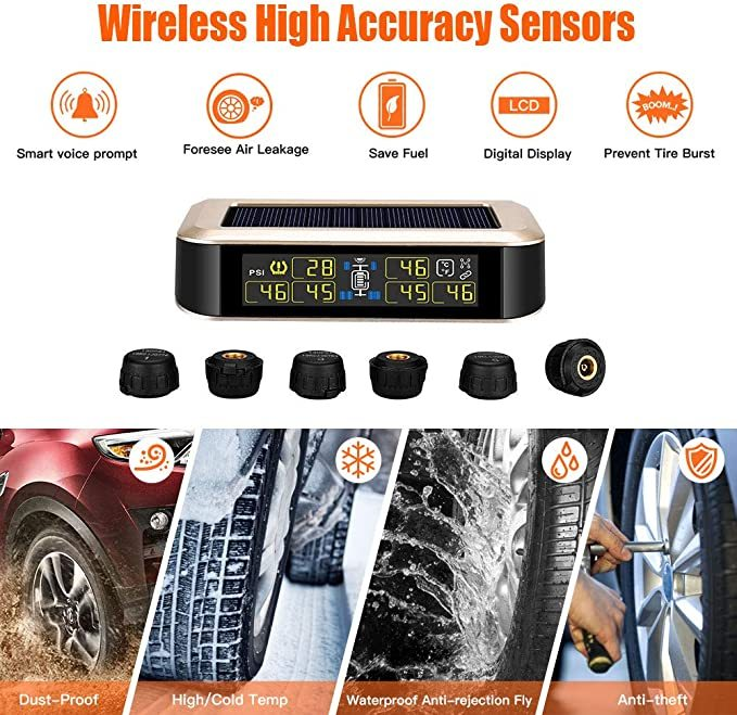 Elikliv Solar Tire Pressure Monitoring System for RV Trailer, TPMS Wireless Monitor with 6 Tire Pressure Sensors, Real-time Displays Pressure and Temperature