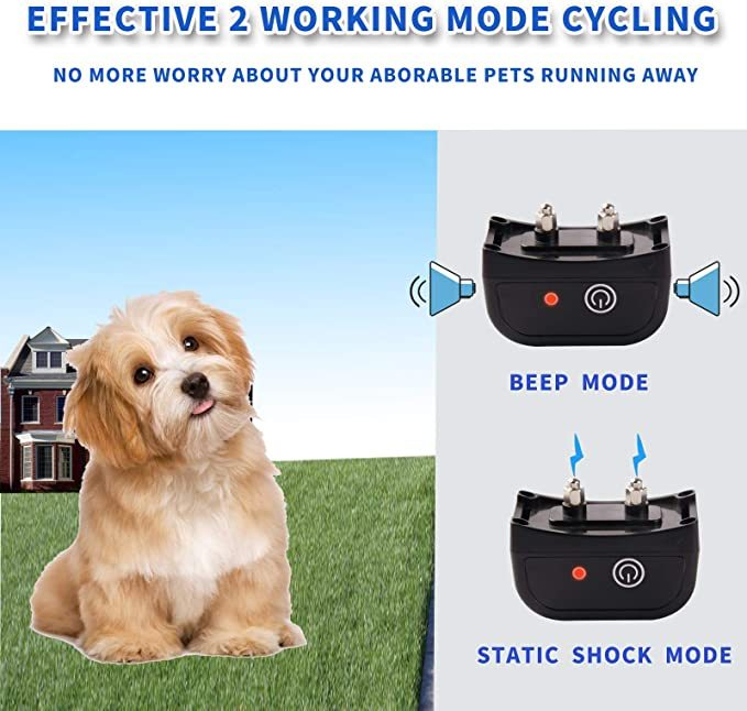 JUSTPET Wireless Dog Fence Electric Pet Containment System, Safe and Easy to Install Vibrate/Shock Dog Fence, Adjustable Control Range 900 Feet, Rechargeable Waterproof Collar