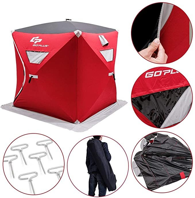 LordBee Red 2-Person Waterproof Portable Pop-up Ice Shelter Fishing Tent with Bag Oxford and PU Camping Hiking Outdoor
