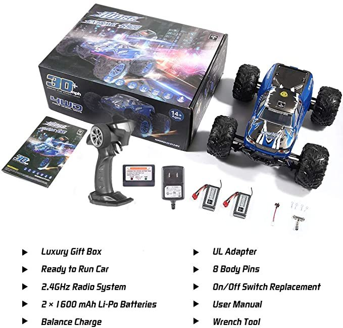 Soyee RC Cars 1:10 Scale RTR 46km/h High Speed Remote Control Car All Terrain Hobby Grade 4WD Off-Road Waterproof Monster Truck Electric Toys for Kids and Adults -1600mAh Batteries x2