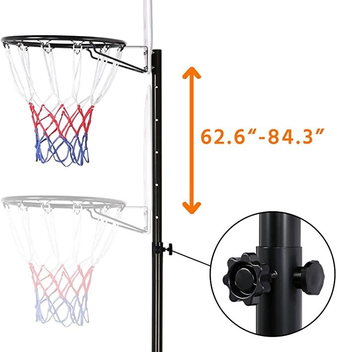 Topeakmart Portable Basketball Hoop - Height Adjustable 5.2-7 ft Basketball Stand Backboard System for Kids Play Outdoor & Indoor with Wheels and 29 Inch Backboard