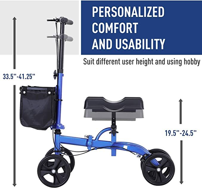 HOMCOM Medical Foldable Steerable Leg Knee Walker Scooter with Basket Attachment - Blue