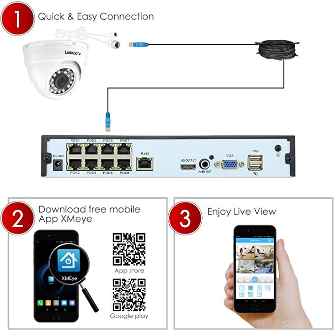 lookcctv Security System,16 Channel HD H.265 POE NVR System with 4x5MP Dome Cameras and 4x5MP Bullet Cameras,Camera System, Home Surveillance Camera System,Indoor/OutdoorP2P Remote Access,No HDD