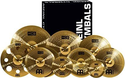 "Meinl Cymbals Ultimate Cymbal Set Box Pack with FREE 16"" Trash Crash – Traditional Brass Finish – Made In Germany, 2 YEAR WARRANTY (HCS-SCS1)"