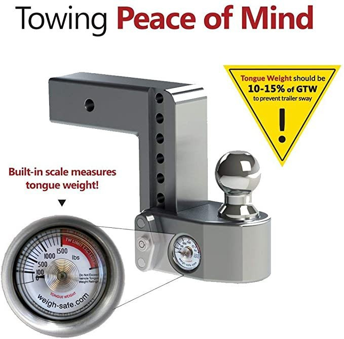 "Weigh Safe WS6-2.5-BA, 6"" Drop Hitch, 2.5"" Receiver-Adjustable Aluminum Trailer Hitch Ball Mount w/Built-in Scale, 2 Stainless Steel Balls (2""&2-5/16"") Keyed Alike Key Lock, Lifetime Gauge Warranty"
