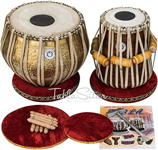 Maharaja Musicals Tabla Set, Professional, 3.5 Kg Brass Bayan - Ganesha and Rose Carving, Sheesham Dayan Tuned To C#, Padded Bag, Book, Hammer, Cushions, Cover, Tabla Hand Drums Indian (PDI-BHD)
