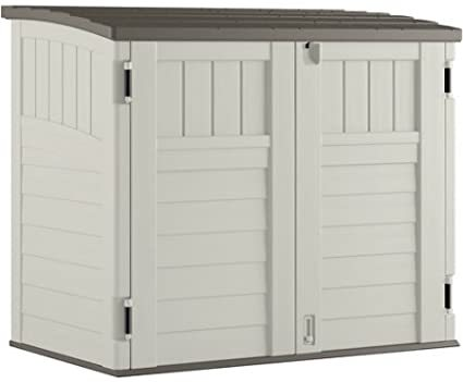 "Durable, Double-Wall Resin Construction Horizontal Utility Shed, 53""W x 32.25""D x 45.5""H, 34-Cu Ft. Capacity, Off-White"