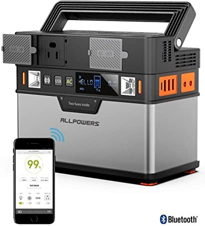 ALLPOWERS Portable Power Station Portable Generator 372Wh/100500mAh Emergency Power Supply with DC/AC Inverter, PD Technology, Wireless Output, Charged by Solar Panel/Wall