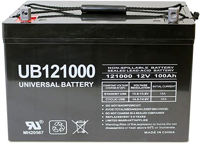 Universal Power Group 12V 100Ah Solar Wind AGM SLA DEEP Cycle VRLA Battery 12V 24V 48V
