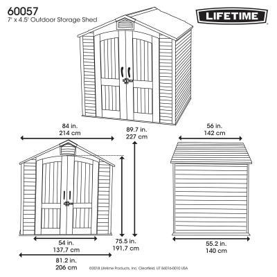 Lifetime 7 Ft. x 4.5 Outdoor Storage Shed 450